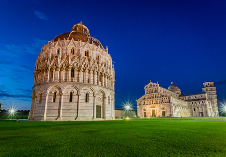 Ancient monuments in Pisa at sunset photo