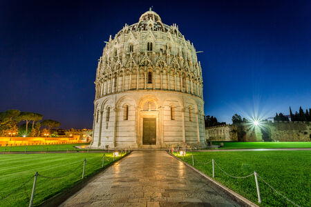 Baptistery in Pisa at night photo