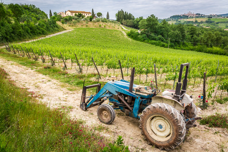 Fields full of vines and blue tractor in Tuscany photo