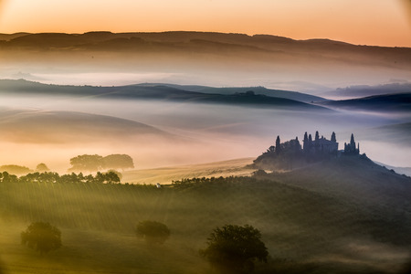 Beautiful sunrise over the valley of olive groves and vines Stock Photo - 29060109