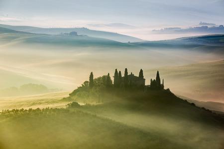 quirico: Beautiful sunrise in San Quirico dOrcia, Tuscany, Italy
