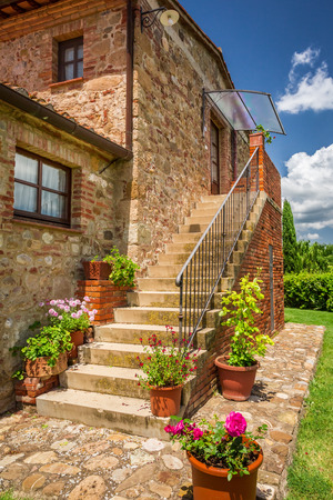 Old brick house in Tuscany photo
