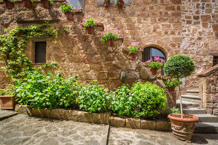 porches: Old town full of ancient stone porches Stock Photo
