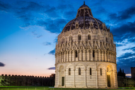 Ancient cathedral in Pisa at sunset photo