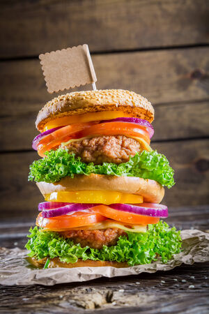 doubledecker: Tasty and big double-decker burger