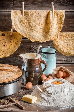 Homemade pancakes production line photo