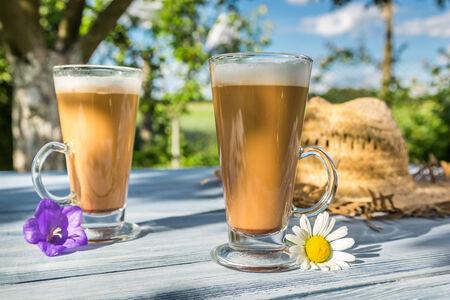 tomando refresco: Latte del caf� en un jard�n soleado