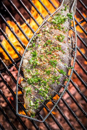 Baked fish on fire photo