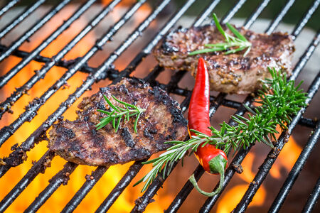 Steak roasted on the fire grill photo