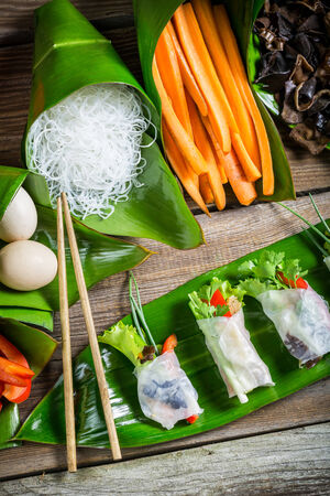 Ingredients for fresh spring rolls photo