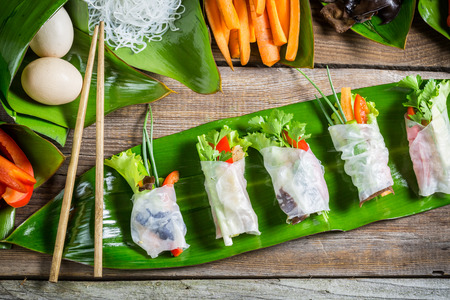 Fresh spring rolls with vegetables photo