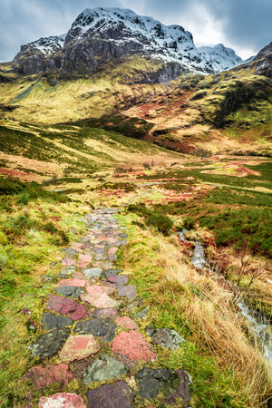 highlands region: Mountain footpath in Glencoe, Scotland