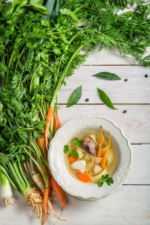 Homemade chicken noodle soup photo