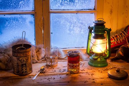 tea light: Hot tea in cold winter day