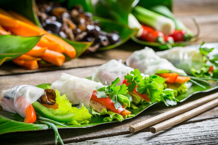 Spring rolls with vegetables and chicken photo