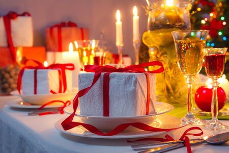 red christmas lights: Christmas Eve dinner by candlelight