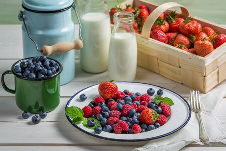 Fresh berry fruits with milk photo