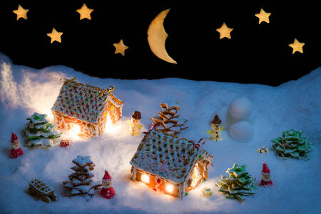 Snowy gingerbread village with stars and moon