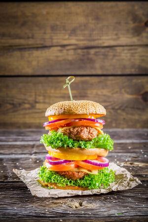 doubledecker: Big and tasty double-decker burger Stock Photo