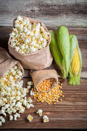 Corn and popcorn in rustic version