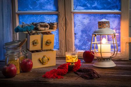 dark interior: Hot linden tea is the best cure for flu