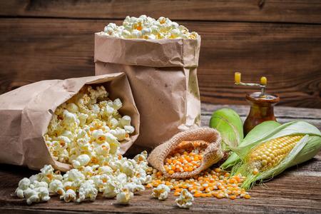 Rustic popcorn and corn photo