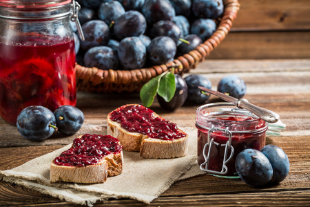 Sandwich with fresh plum jam Stock Photo