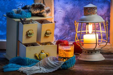 linden tea: Hot linden tea is the best in winter Stock Photo