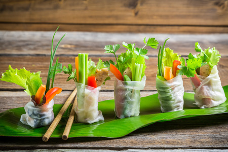 Fresh spring rolls wrapped in rice paper Stock Photo