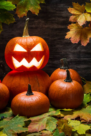 Halloween pumpkins on autumn leaves Stock Photo
