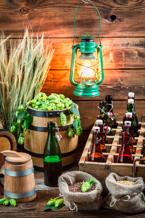 Light beer stored in a wooden cellar photo