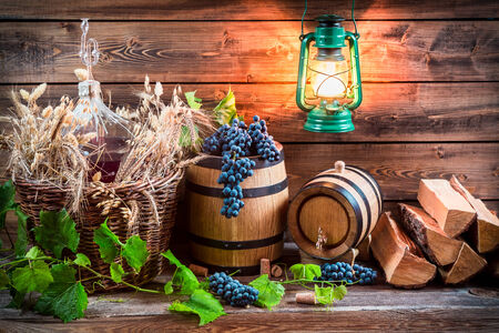 red oil lamp: Cellar full wine and grapes Stock Photo