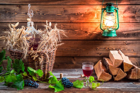 red oil lamp: Cellar full of wine aroma Stock Photo