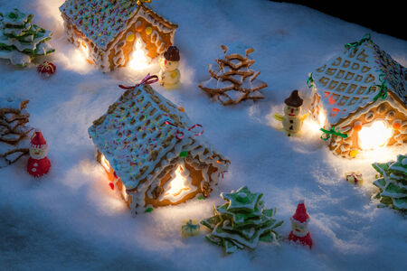 Small gingerbread village built from sweetness Archivio Fotografico