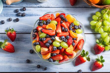 mandarin orange: Preparing a healthy spring fruit salad