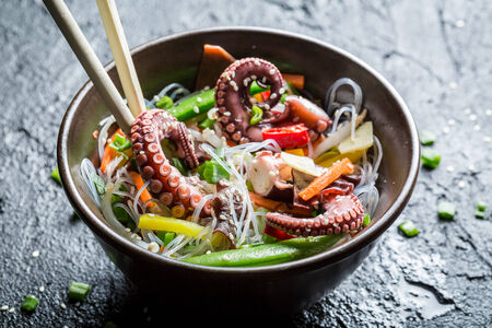 thai chili pepper: Chinese mix vegetables with octopus Stock Photo