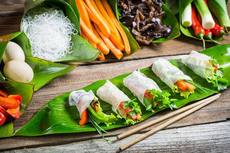 spring roll: Fresh spring rolls wrapped in rice paper Stock Photo