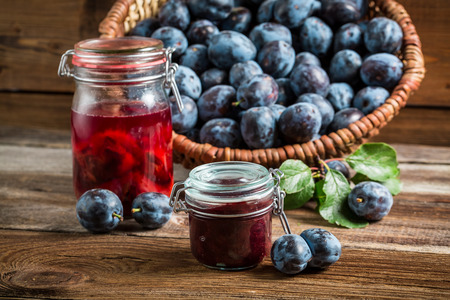 Fresh preserves from plum in the pantry photo