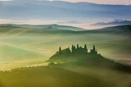 san quirico: Beautiful sunrise in San Quirico dOrcia, Tuscany, Italy