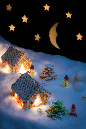 Snowy gingerbread village with stars and moon photo