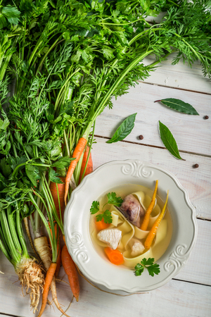 polish chicken: Homemade chicken noodle soup