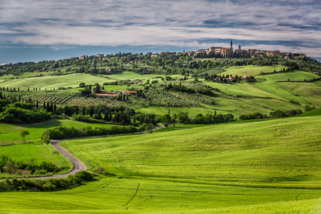 View of the town of Pienza at sunset photo