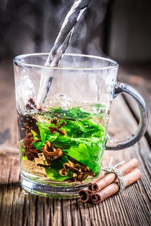 Brewing hot tea leaf photo