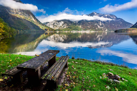 Unique place at mountain lake photo