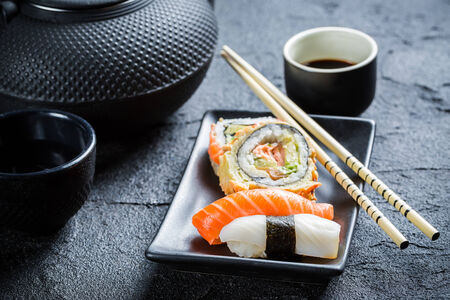 japanese culture: Sushi served with tea