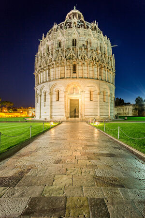 Baptistery in Pisa at night