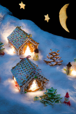 Small gingerbread houses in the snow