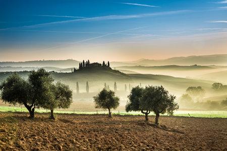Foggy valley in the Tuscany, Italy