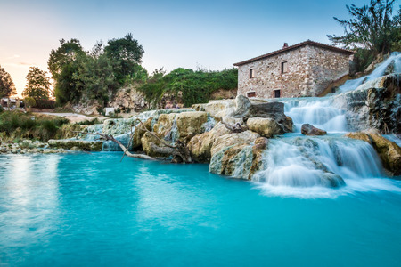 waterfall with sky: Natural spa with waterfalls in Tuscany, Italy Editorial