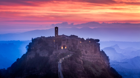 View of the old town of Bagnoregio at dusk photo